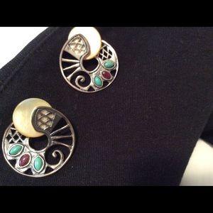 Carolyn Pollack swirl stone earrings